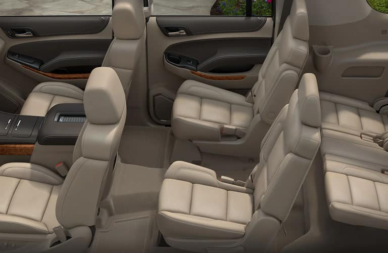 tan seating inside 2019 Chevy Suburban