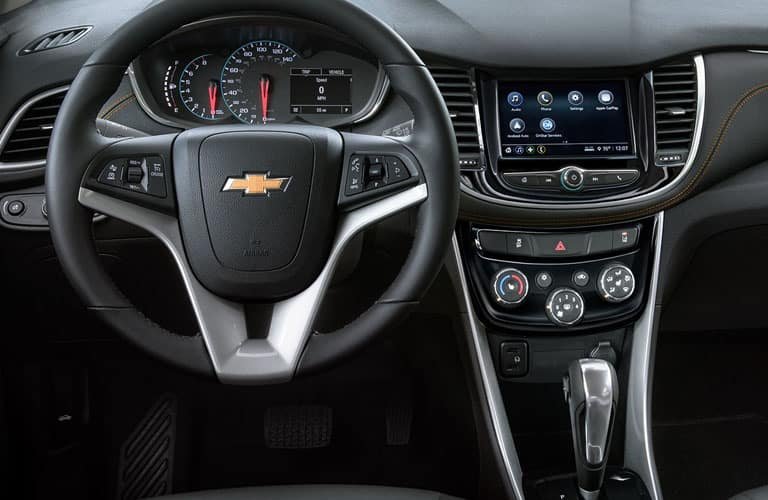 steering wheel and center console design inside 2019 Chevy Trax