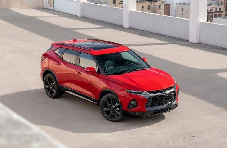 Overhead view of red and black 2019 Chevrolet Blazer