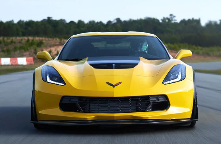 Front view of yellow 2019 Chevrolet Corvette Z06