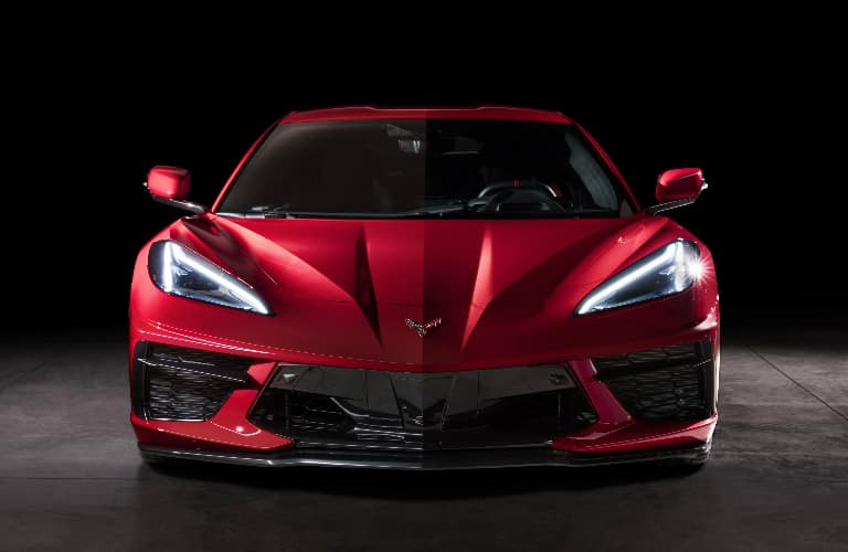 Front view of red 2020 Chevrolet Corvette Stingray