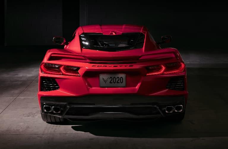 Rear view of red 2020 Chevrolet Corvette Stingray