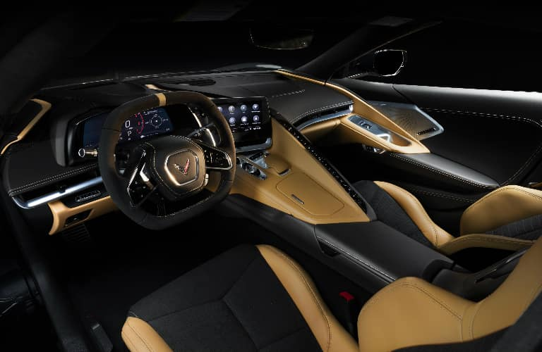 Black and tan dashboard and seats in 2020 Chevrolet Corvette Stingray