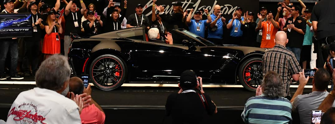 Auctioned black 2019 Chevy Corvetted at the Barrett-Jackson Northeast Auction