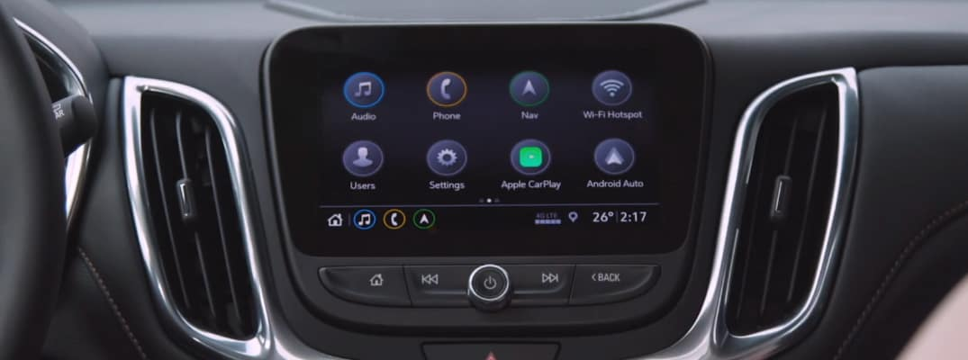 Infotainment system touchscreen with Apple CarPlay feature in a Chevrolet vehicle