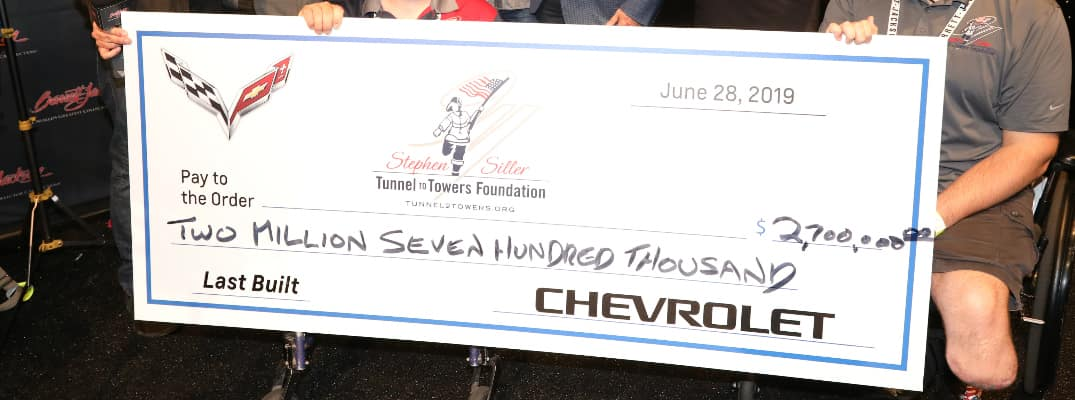 Large check for 2.7 milliion dollars from Chevrolet to the Stephen Siller Tunnel to Towers Foundation