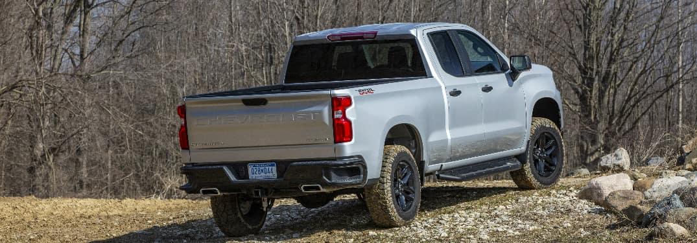 Rear view of silver 2020 Chevrolet Silverado 1500