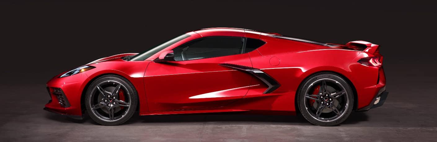 Side view of red 2020 Chevrolet Corvette Stingray