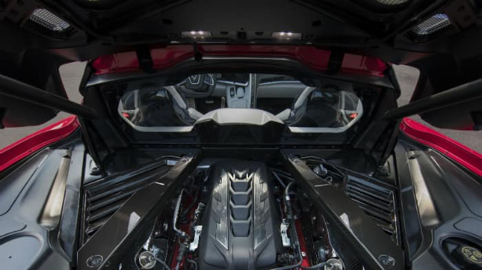 V-8 engine in red 2020 Chevrolet Corvette Stingray