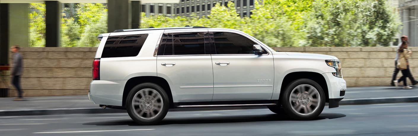 Side view of white 2020 Chevrolet Tahoe