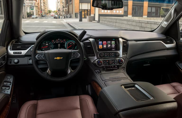 Dashboard and brown front seats in 2020 Chevrolet Tahoe