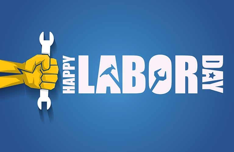 Happy Labor Day title with a graphic of a hand holding a wrench