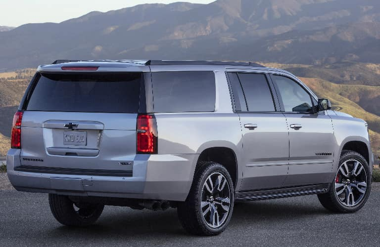 Rear view of grey 2020 Chevrolet Suburban
