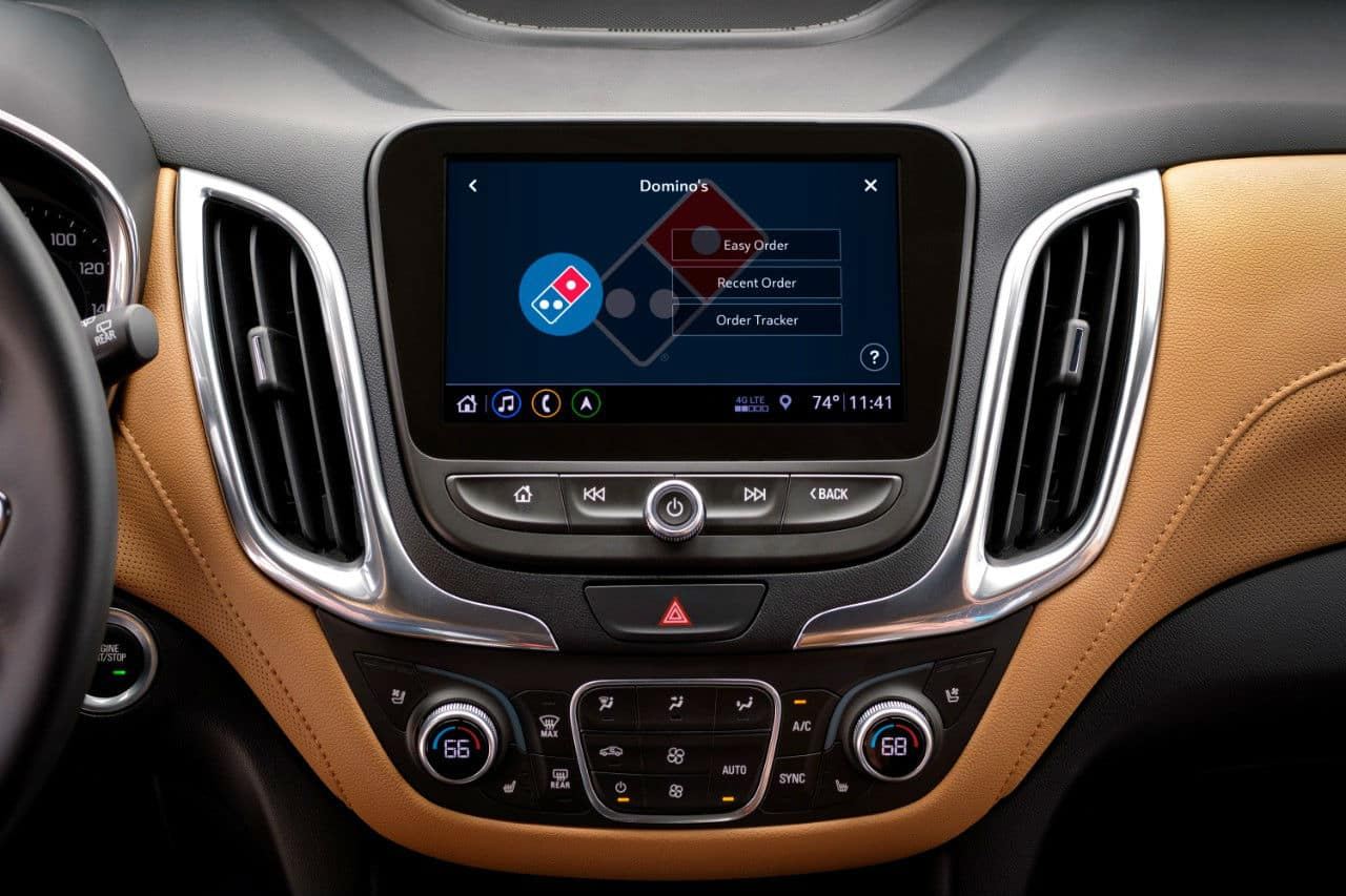 Domino's Pizza ordering app in in a Chevrolet vehicle