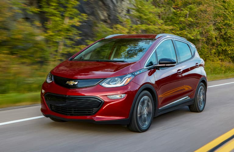 Front view of red 2020 Chevrolet Bolt EV