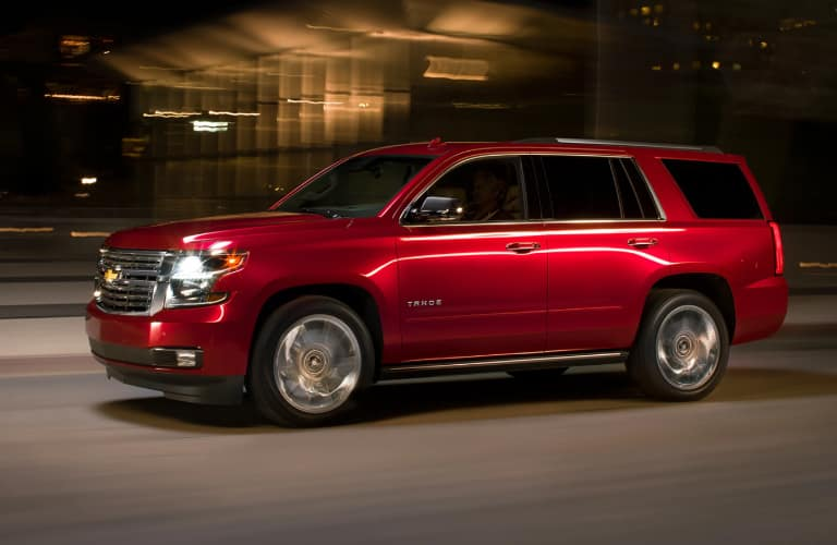Side view of red 2020 Chevrolet Tahoe