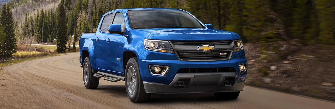 Front view of blue 2020 Chevrolet Colorado