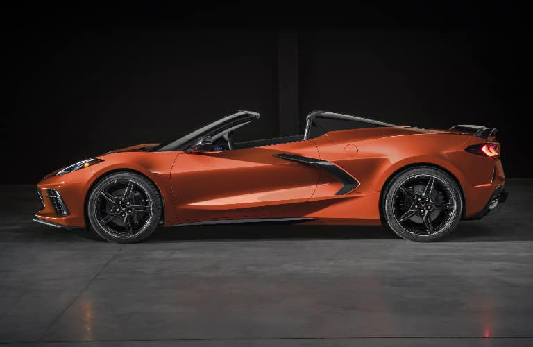 Side view of orange 2020 Chevrolet Corvette Stingray Convertible