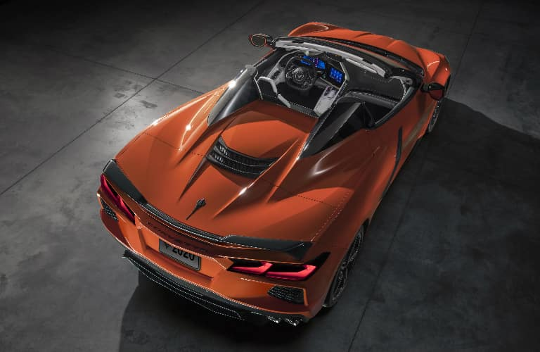 Rear view of orange 2020 Chevrolet Corvette Stingray Convertible