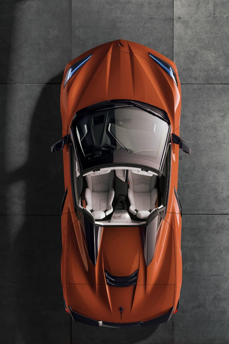 Overhead view of orange 2020 Chevrolet Corvette Stingray Convertible