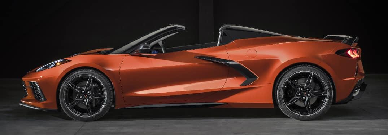 Side view of orange 2020 Chevrolet Corvette Stingray Convertible