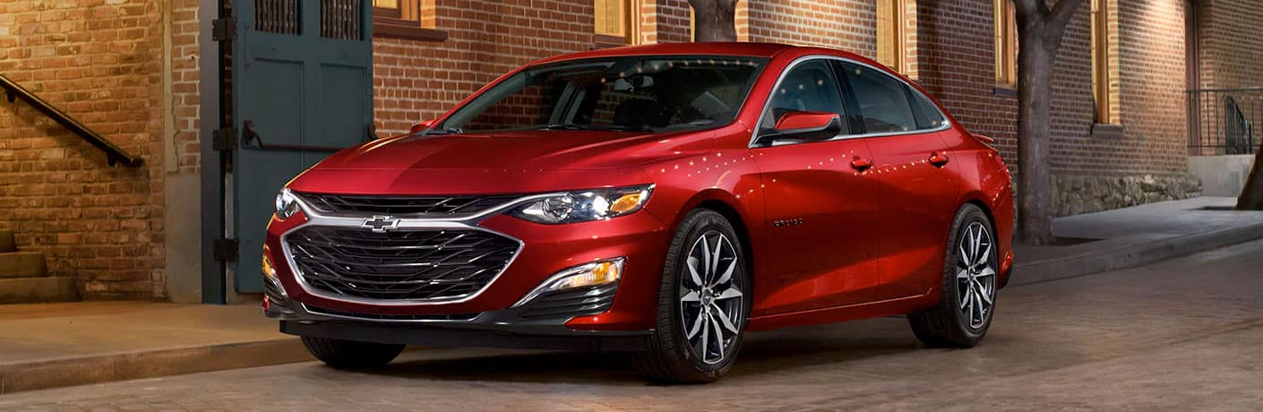 red 2020 chevrolet malibu front side view