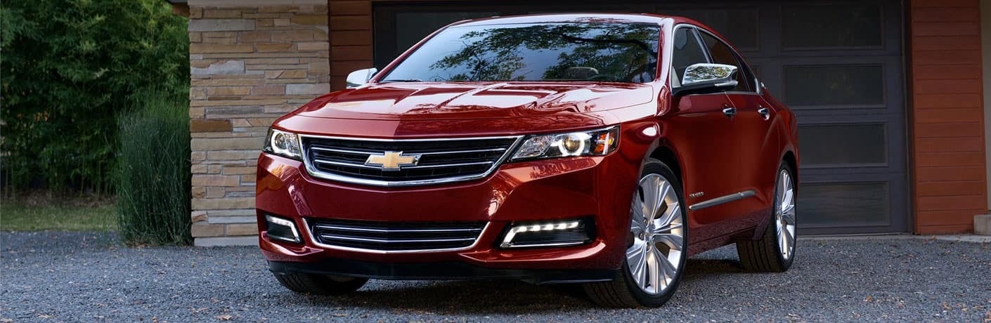 red chevrolet impala front view