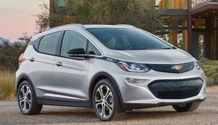 silver chevrolet bolt ev front side view