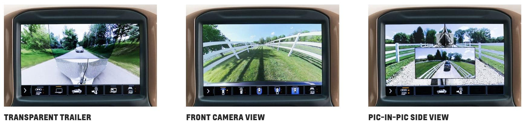 three camera views of Chevrolet Silverado
