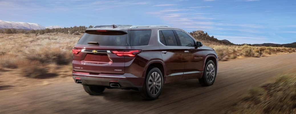 red 2022 Chevrolet Traverse rear view