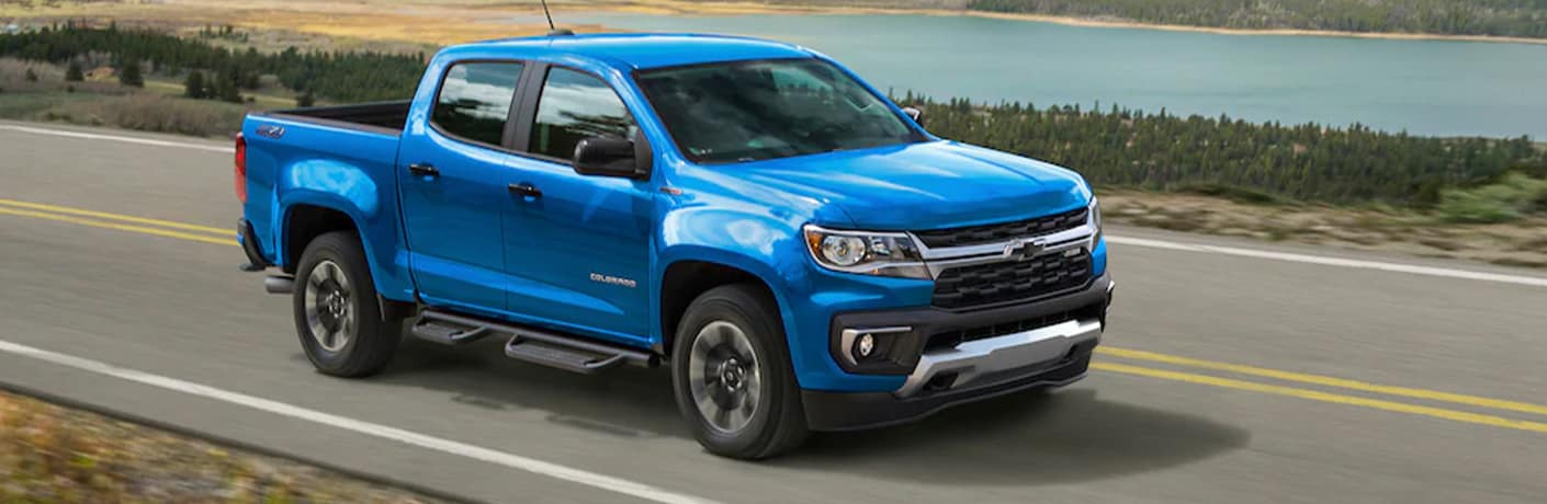 2021 Chevrolet Colorado front view on a road