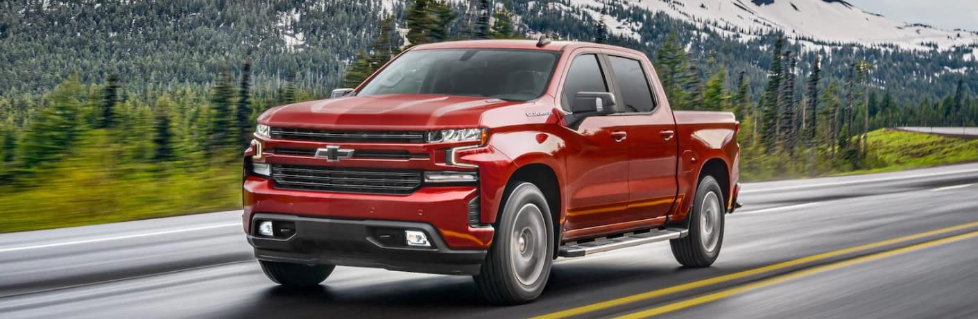 2021 Chevrolet Silverado front view on a road