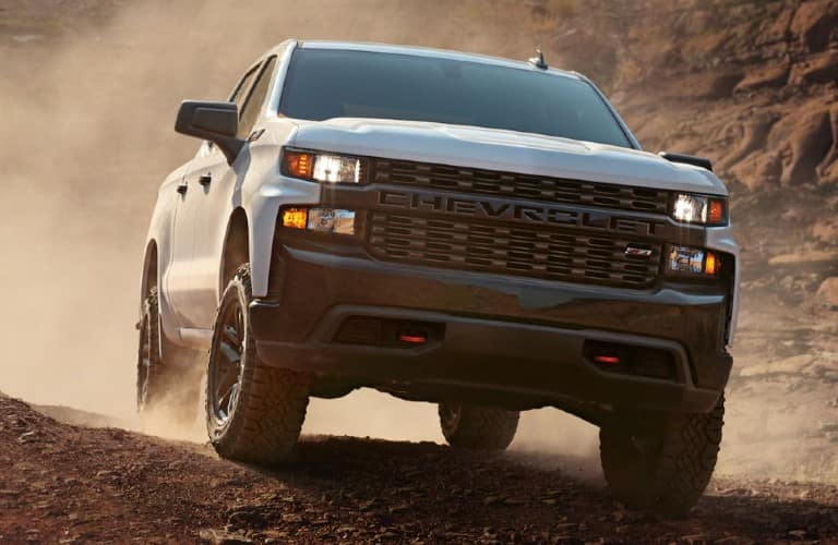 2021 Chevrolet Silverado front view in some dirt