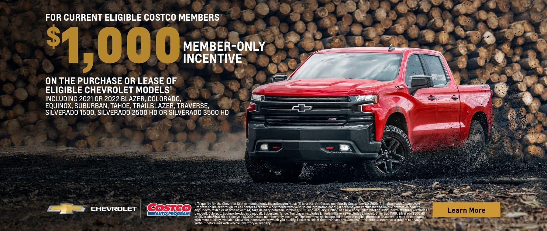 For current eligible costco members $1,000 member-only incentive on the purchase or lease of eligible Chevrolet models