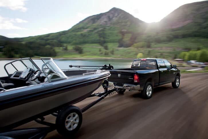 2018 RAM 1500 Towing Boat Through Mountains