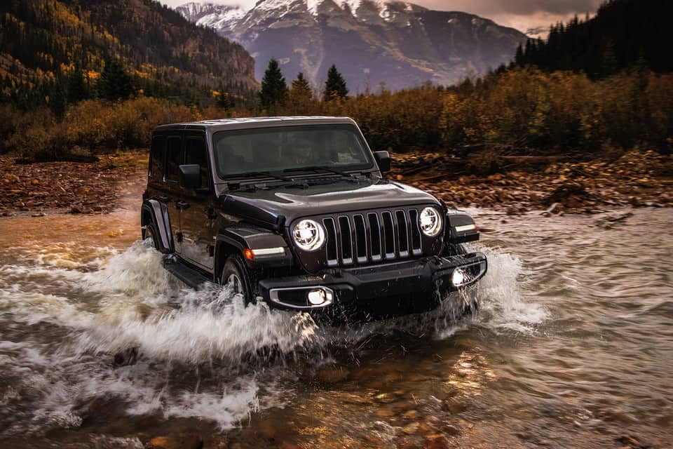 2019 Jeep Wrangler driving through water