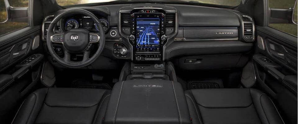 2019 RAM 1500 front seats, wheel, and dashboard view