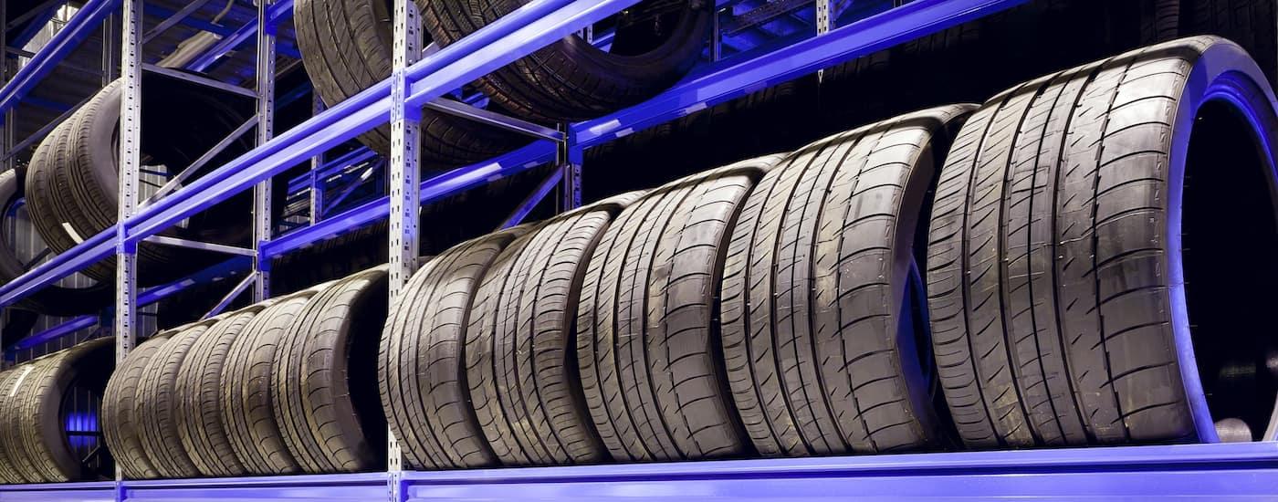 Tires on a shelf