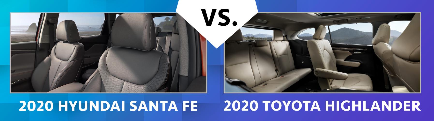2020 Santa Fe vs 2020 Highlander Contrasts