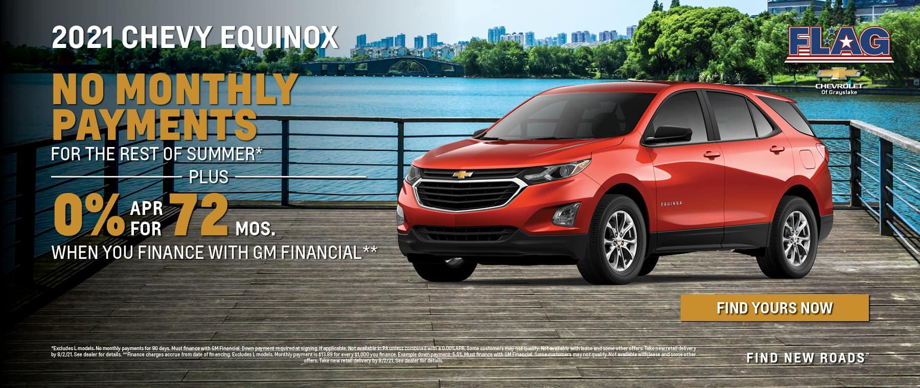 0% APR for 72 Months for 2021 Chevy Equinox when using GM Financial