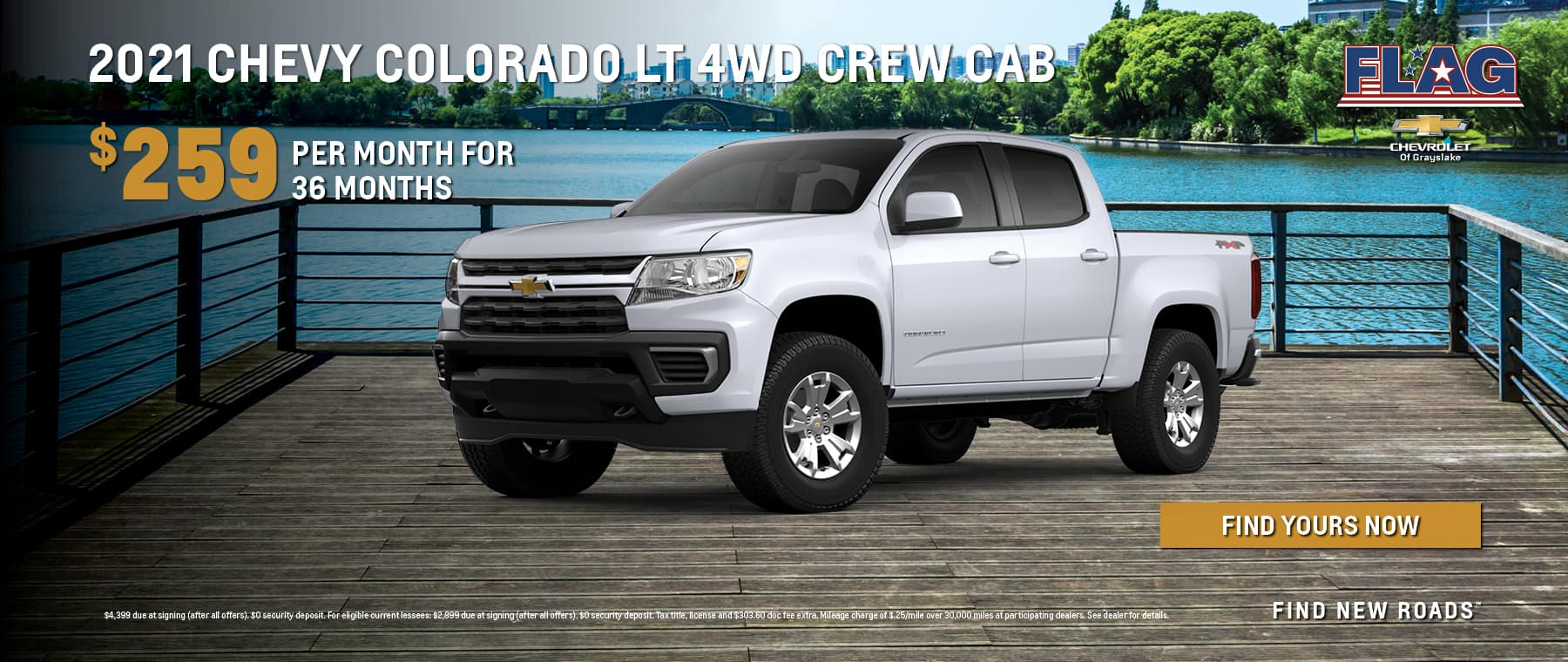 $259 per month for 36 months on 2021 Chevy Colorado LT 4WD Crew Cab