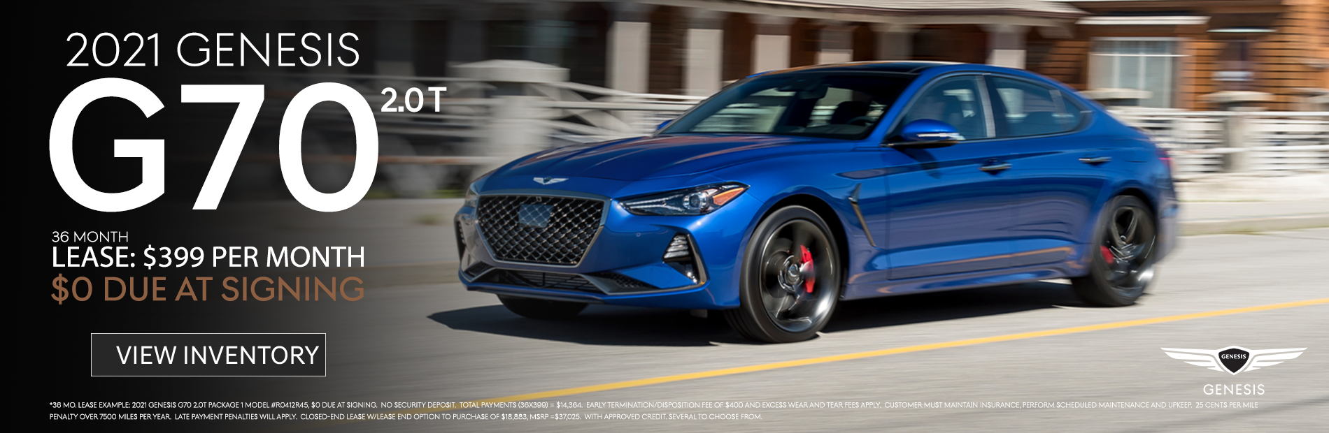 2021 G70 $399 Lease