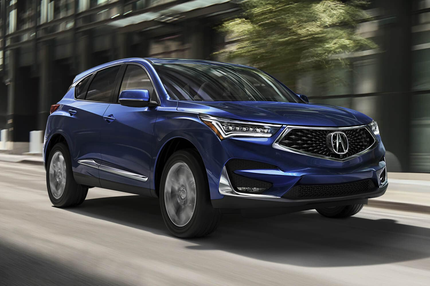 2019 Acura RDX Exterior Front Angle Passenger Side Blue