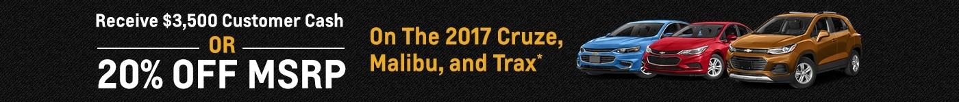 20% off 2017 Cruze, Malibu, Trax