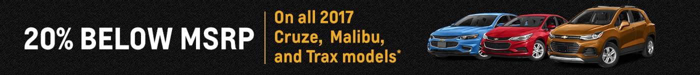 20% Below MSRP on Cruze, Trax, and Malibu