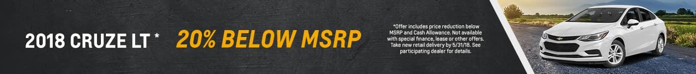 20% below MSRP on Cruze slider