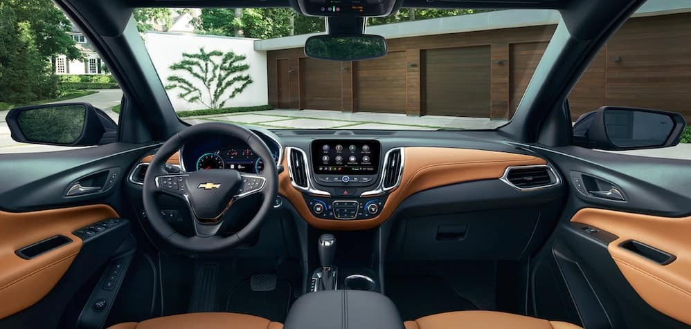 2019 Chevrolet Equinox interior showing the steering wheel and infotainment center