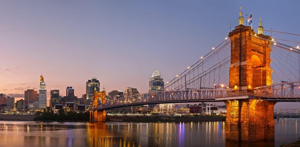 Cincinnati Bridge at night