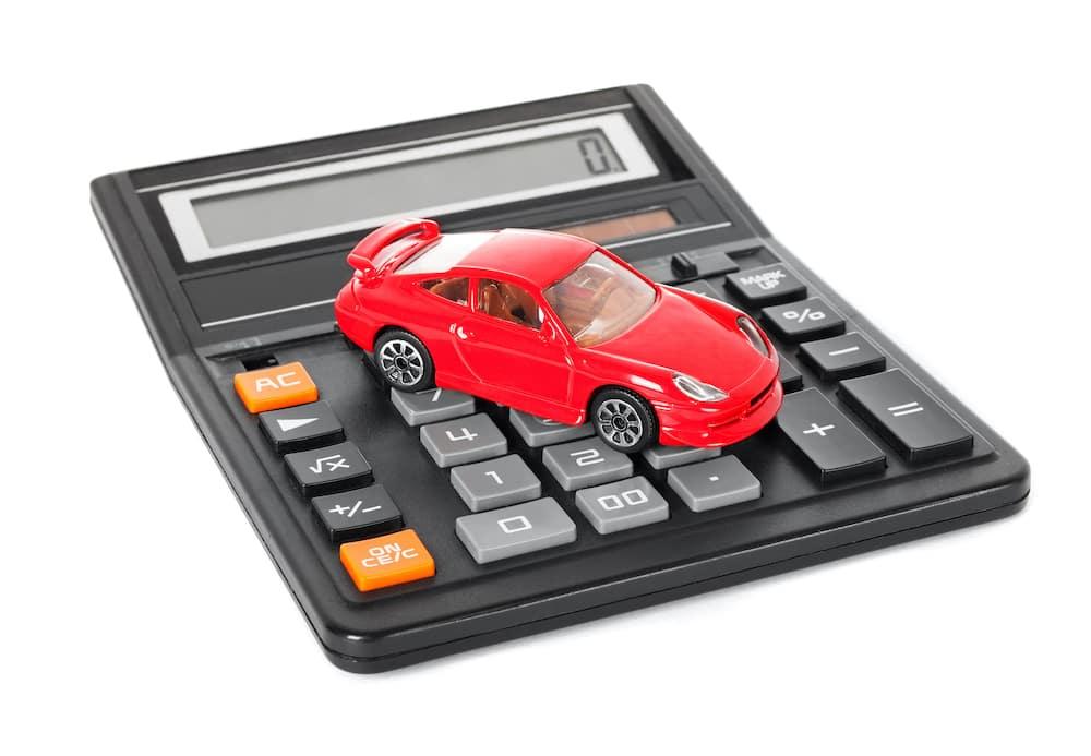 Toy car on a calculator