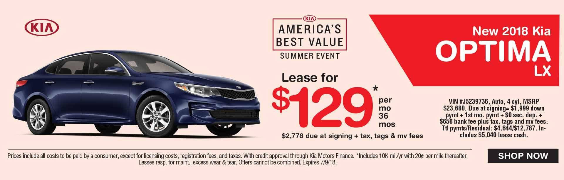 Global Kia Optima Lease Special